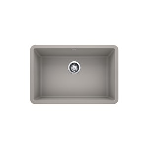 BLANCO Precis Undermount Kitchen Sink - Single Bowl - 27-in - Silganit Concrete Grey