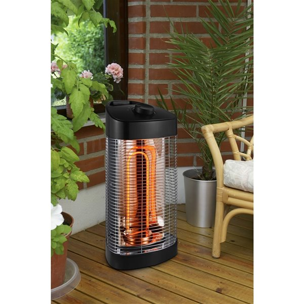 EnerG+ Infrared Oscillating Portable Electric Patio Heater - 4,100 BTU - 20.5-in - Matte black