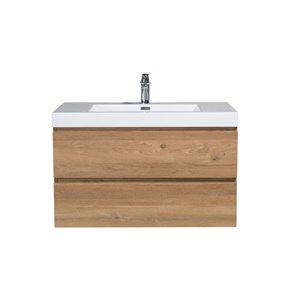 Meuble-lavabo pour salle de bain Almere de GEG avec comptoir acrylique, fini chêne naturel, 36 po