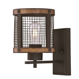 Westinghouse Lighting Canada 1-Light Wall - Bronze with Barnwood Accents and Mesh Shade - 10.75-in