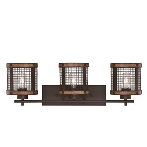 Westinghouse Lighting Canada 3-Light Wall Mesh Shade - Oil Rubbed Bronze finish and Barnwood Accents - 28.5-in
