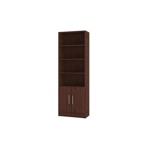 Manhattan Comfort Catarina Cabinet with 6 Shelves - 24.41-in x 71.85-in - Nut Brown