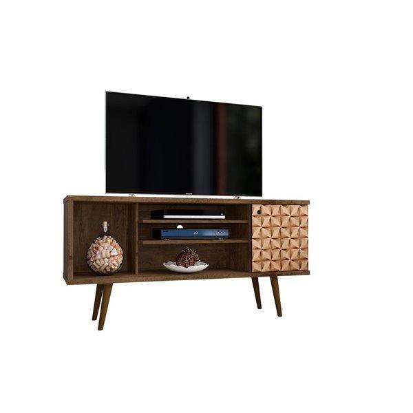 Manhattan Comfort Liberty TV Stand with 5 Shelves and 1 Door - 53.14-in x 26.57-in - Rustic Brown/3D Brown Prints