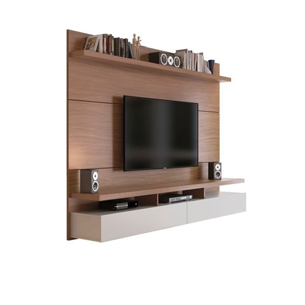 Manhattan Comfort City 2.2 Floating Wall Theater Entertainment Centre - 86.5-in x 63.42-in - Maple Cream/Off White