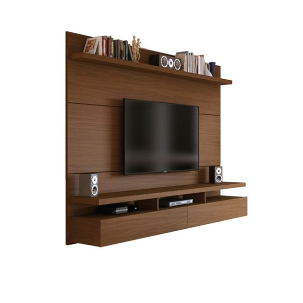 Manhattan Comfort City 1.8 Floating Wall Theater Entertainment Centre - 72.32-in x 63.42-in - Nut Brown