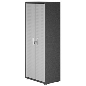 Manhattan Comfort Fortress Tall Garage Cabinet with 4 Shelves - Metal - 30.3-in x 74.8-in - Grey