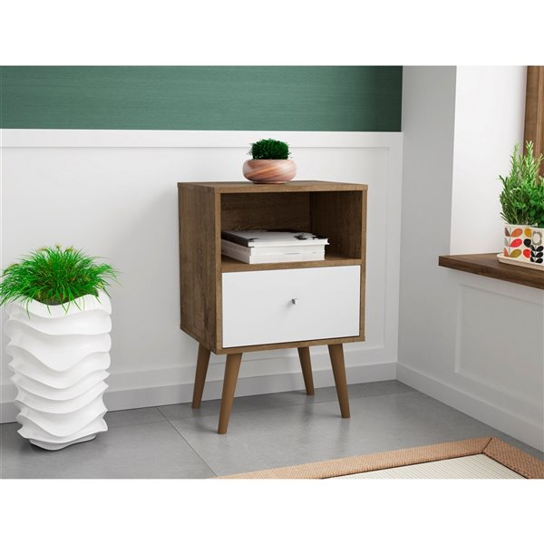Manhattan Comfort Liberty Nightstand 1.0 with Cubby - 17.72-in x 27.09-in - Rustic Brown/White