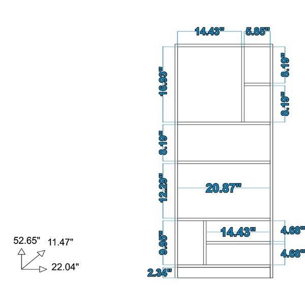 Manhattan Comfort Valenca Bookcase 3.0 with 8 Shelves - 22.24-in x 53.15-in - White