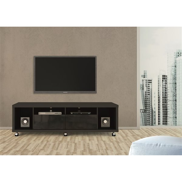 Manhattan Comfort Cabrini TV Stand and Floating Wall TV Panel 1.8 with LED Lights - 71-in x 73-in - Black
