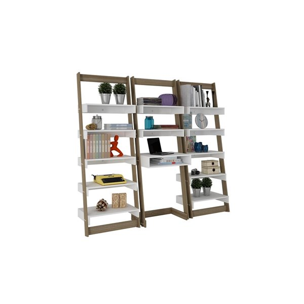Manhattan Comfort Carpina 3-Piece Floating Ladder Office Desk with Shelves - 74.4-in x 69.69-in - White/Oak