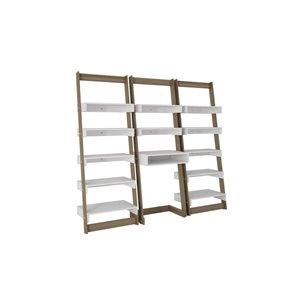 Manhattan Comfort Carpina 3-Piece Floating Ladder Office Desk with Shelves - 74.4-in x 69.69-in - White/Oak