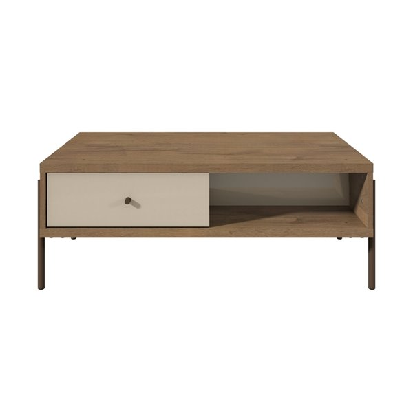 Manhattan Comfort Joy Double-Sided 2-Drawer End Table - 37-in x 14.7-in - Off White/Oak