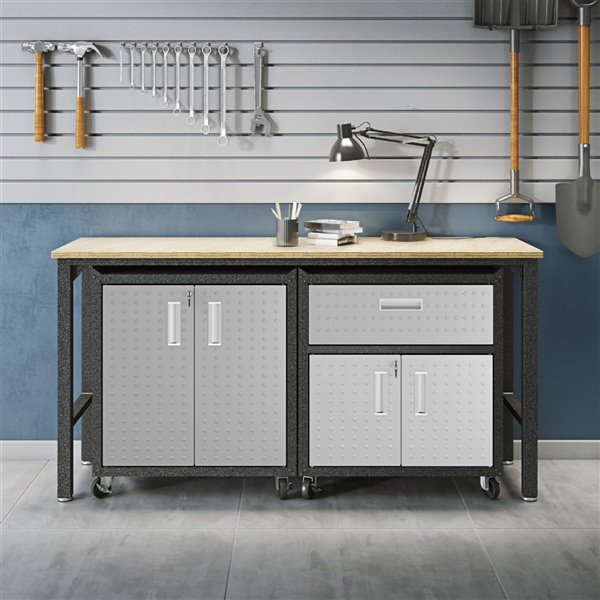 Manhattan Comfort Fortress 3-Piece Mobile Garage Cabinet and Worktable 2.0 - 72.4-in x 37.6-in - Grey