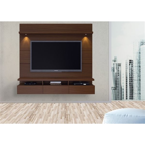 Manhattan Comfort Cabrini 1.8 Floating Theater Entertainment Centre - 71.25-in x 67.24-in - Nut Brown
