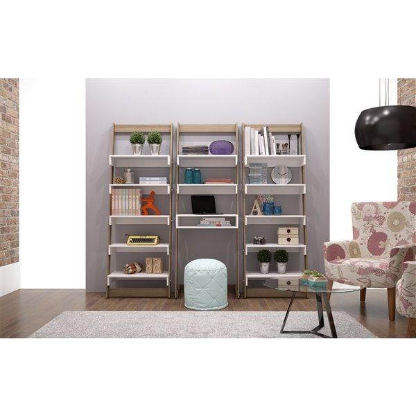 Manhattan Comfort Carpina Ladder Shelf with 5 Shelves - 24.8-in x 69.69-in - White/Oak