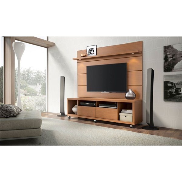 Manhattan Comfort Cabrini TV Stand and Wall TV Panel 1.8 with LED Lights - 71-in x 73-in - Maple Cream