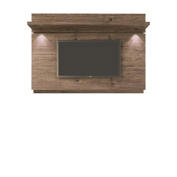 Manhattan Comfort Park 1.8 Floating Wall TV Panel with LED Lights - 71.2-in x 49.6-in - Natural