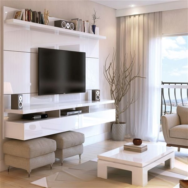 Manhattan Comfort City 1.8 Floating Wall Theater Entertainment Centre - 72.32-in x 63.42-in - Gloss White
