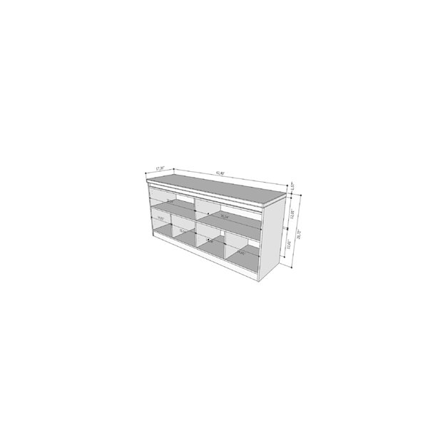 Manhattan Comfort Viennese 6-Shelf Buffet Cabinet with Mirrors - 62.99-in x 28.14-in - Gloss White