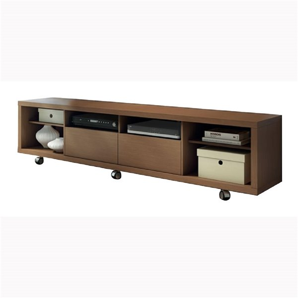 Manhattan Comfort Cabrini TV Stand 2.2 with 6 Shelves - 85.43-in x 20.86-in - Nut Brown