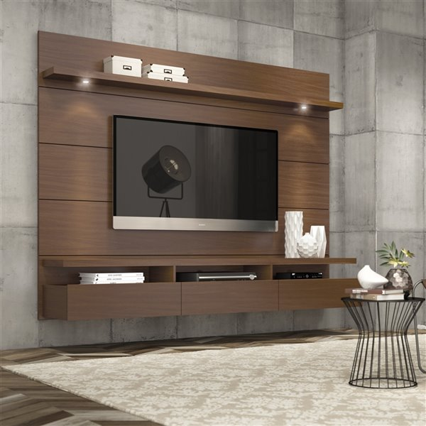 Manhattan Comfort Cabrini 2.2 Floating Theater Entertainment Centre  - 85.62-in x 67.24-in - Nut Brown