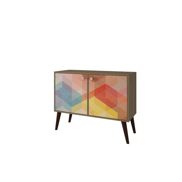 Manhattan Comfort Avesta Double Side Table 2.0 with 3 Shelves - 35.43-in x 27.36-in - Oak/Multicolour