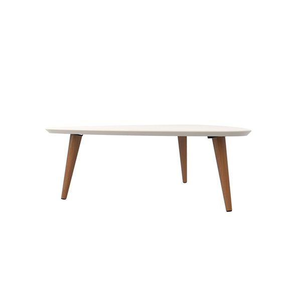Manhattan Comfort Utopia Low Triangular End Table - 33.46-in x 11.81-in - Off White