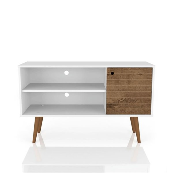 Manhattan Comfort Liberty TV Stand with 2 Shelves and 1 Door - 42.52-in x 25.8-in - White/Rustic Brown