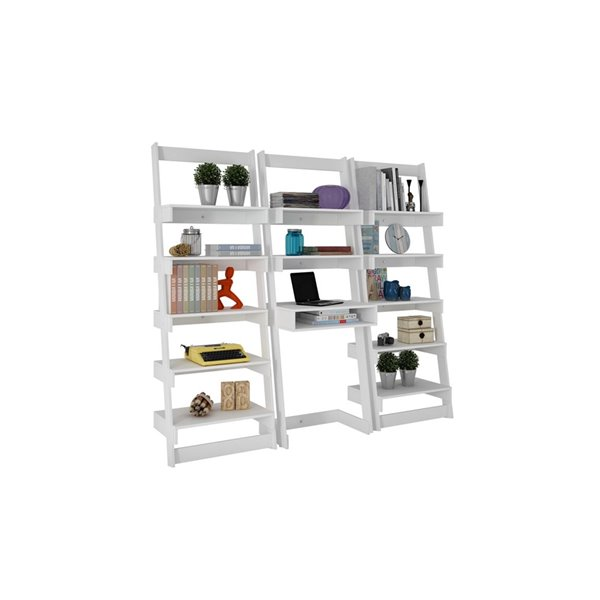 Manhattan Comfort Carpina 3-Piece Floating Ladder Office Desk with Shelves - 74.4-in x 69.69-in - White