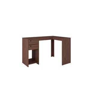 Manhattan Comfort Palermo Classic L-Desk with 2 Drawers and 1 Cubby - 50.39-in x 31.89-in - Nut Brown