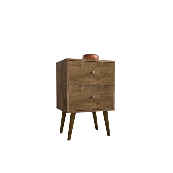 Manhattan Comfort Liberty Nightstand 2.0 with 2 Drawers - 17.72-in x 27.09-in - Rustic Brown