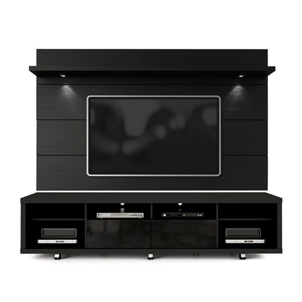 Manhattan Comfort Cabrini TV Stand and Floating Wall TV Panel 2.2 with LED Lights  - 85.8-in x 73-in - Black