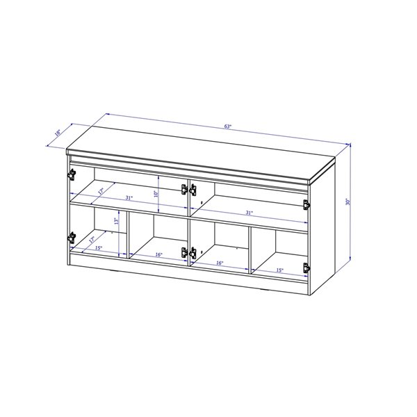 Manhattan Comfort Viennese 6-Shelf Buffet Cabinet with Mirrors - 62.99-in x 28.14-in - Off White