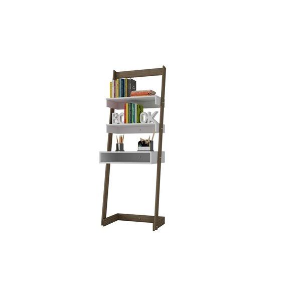 Manhattan Comfort Carpina Ladder Desk with 2 Shelves - 24.8-in x 69.69-in - White/Oak