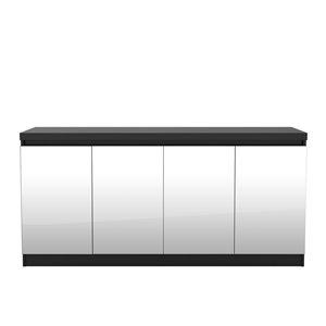 Manhattan Comfort Viennese 6-Shelf Buffet Cabinet with Mirrors - 62.99-in x 28.14-in - Matte Black