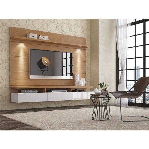 Manhattan Comfort Cabrini 1.8 Floating Theater Entertainment Centre - 71.25-in x 67.24-in - Maple Cream/Off White