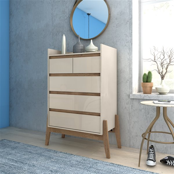 Manhattan Comfort Essence Tall Dresser with 5 Drawers - 35.04-in x 48.23-in - Off White