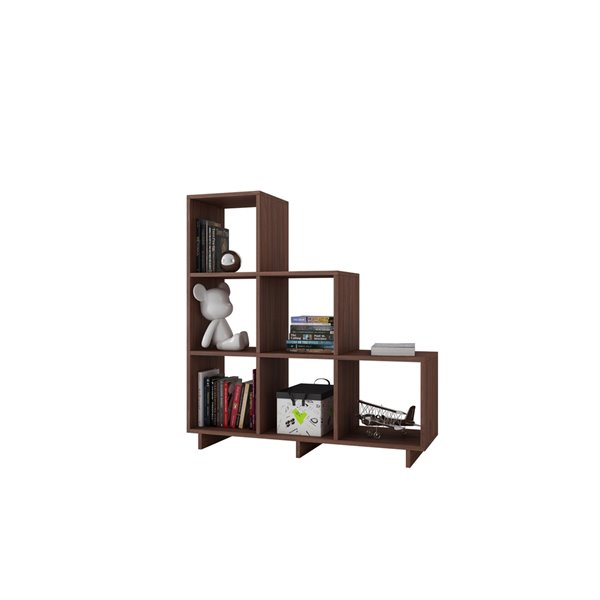 Manhattan Comfort Cascavel Stair Cubbies - 36.22-in x 38.58-in - Nut Brown