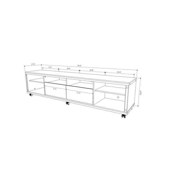 Manhattan Comfort Cabrini TV Stand 2.2 with 6 Shelves - 85.43-in x 20.86-in - Gloss White