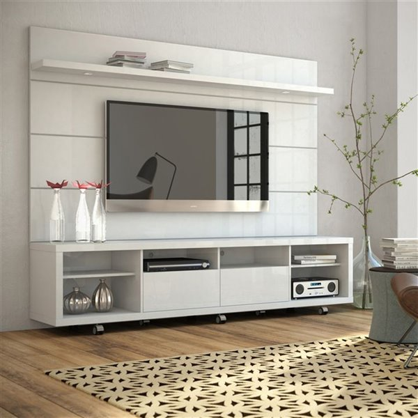 Manhattan Comfort Cabrini TV Stand and Floating Wall TV Panel 2.2 with LED Lights  - 85.8-in x 73-in - Gloss White
