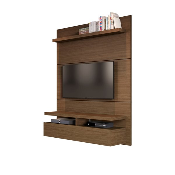 Manhattan Comfort City 1.2 Floating Wall Theater Entertainment Centre - 47.24-in-in x 63.42-in - Nut Brown