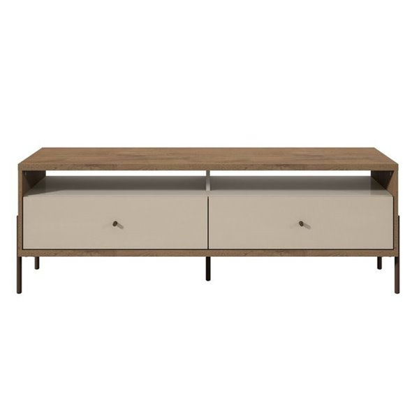 Manhattan Comfort Joy TV Stand with 2 Drawers - 59.06-in x 20.28-in - Off White/Wood