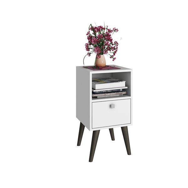 Manhattan Comfort Abisko Side Table with 1 Shelf - 12.99-in x 24.8-in - White
