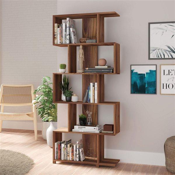 Manhattan Comfort Petrolina Z-Shelf with 5 Shelves - 30.91-in x 72.44-in - Nut Brown