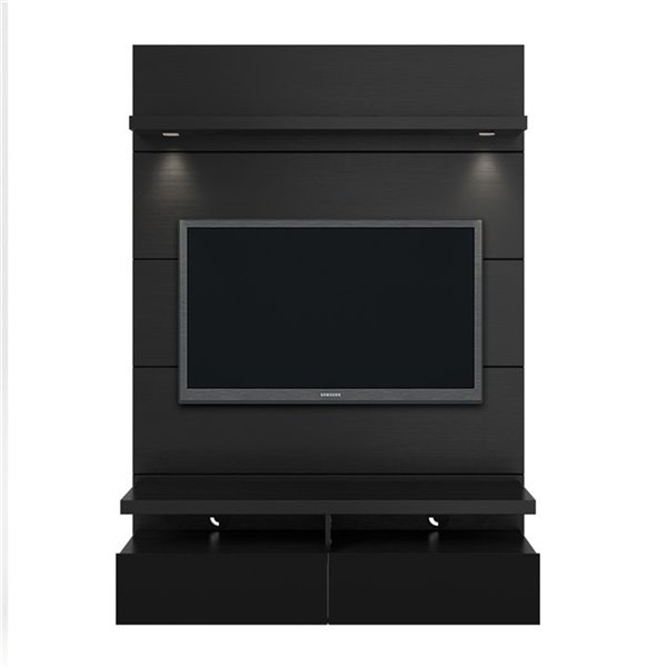 Manhattan Comfort Cabrini 1.2 Floating Theater Entertainment Centre - 47.24-in x 67.24-in - Matte/Gloss Black
