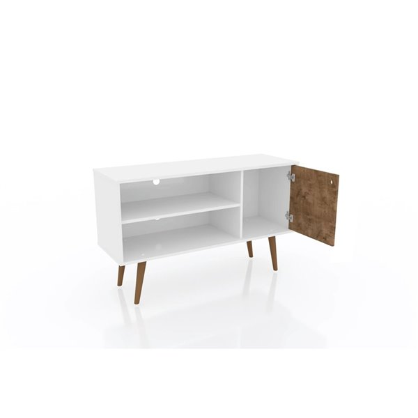 Manhattan Comfort Liberty TV Stand with 2 Shelves and 1 Door - 42.52-in x 25.8-in - White/3D Brown Prints