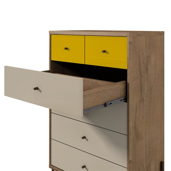 Manhattan Comfort Joy Tall Dresser with 6 Drawers - 30.71-in x 48.43-in – Off White/Yellow/Oak