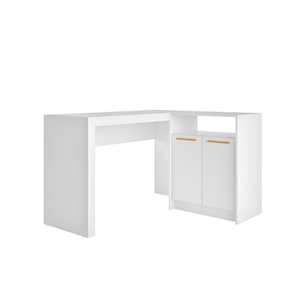 Manhattan Comfort Kalmar L-Shaped Office Desk with Cabinet - 48.43-in x 29.92-in - White