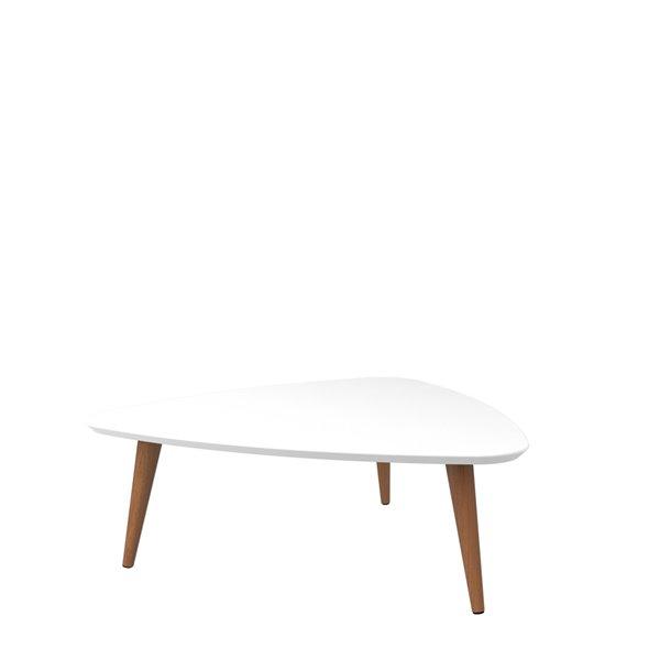 Manhattan Comfort Utopia Triangular Coffee Table with Splayed Legs - 33.46-in x 11.81-in - Gloss White