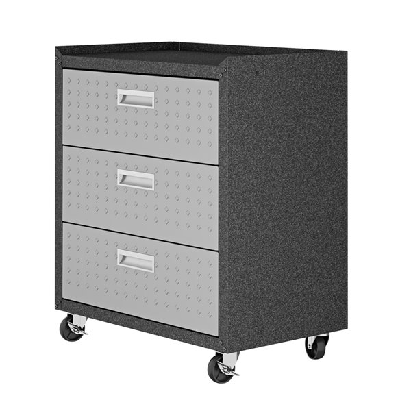 Manhattan Comfort Fortress Mobile Garage Chest with 3 Drawers - Metal - 30.3-in x 32.1-in - Grey